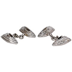 Trianon White Gold Yacht Shaped Cufflinks