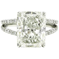 3.46 Carat Radiant Cut Diamond Split Shank Platinum Ring GIA