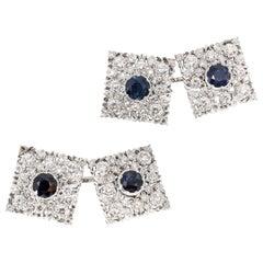 M. Buccellati Blue Sapphire Diamond White Gold Square Cufflinks