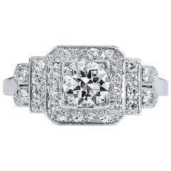 Art Deco Old European Cut Diamond Iridium Platinum Engagement Ring