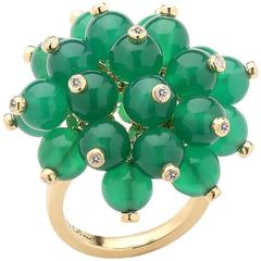 Diamond Beaded Green Agate Yellow Gold Ring
