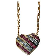 20th Century Diamond Ruby Gold Heart Pendant Necklace