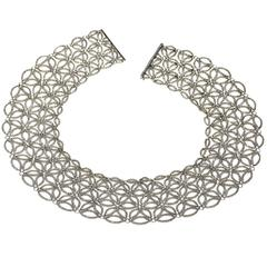 White Gold Lace Style Necklace