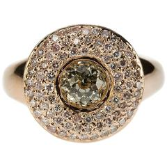 Diamond Pink Gold Button Ring