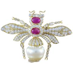 Pearl Ruby Diamond Gold Queen Bee Brooch