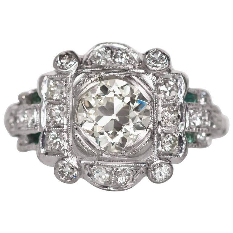 1920s Art Deco Platinum GIA Certified 1.03 Carat Diamond Engagement Ring