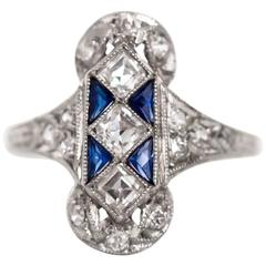 1920s Art Deco Sapphire Diamond Platinum Engagement Ring