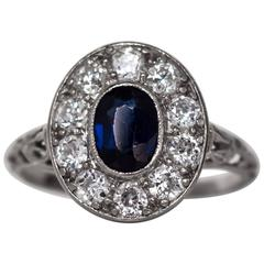 1890s Edwardian Platinum .75 Carat Sapphire and Diamond Engagement Ring