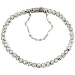 Bezel-Set Diamond White Gold Tennis Bracelet