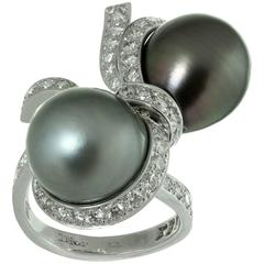 Christian Dior Tahitian Pearl Diamond White Gold Caprice Ring