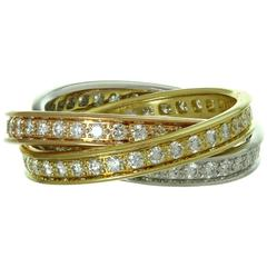 Cartier Trinity Diamond Tricolor Gold Band Ring