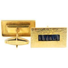 1960s Modernist Lucien Picard Sapphire Gold Cufflinks