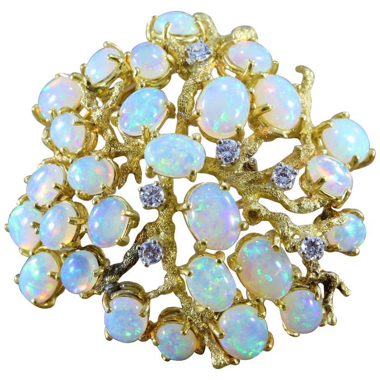 Opal Diamond Gold Tree Brooch