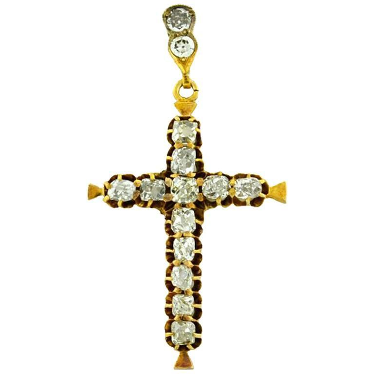 Victorian Old Cut Diamond Yellow Gold Cross Pendant 1
