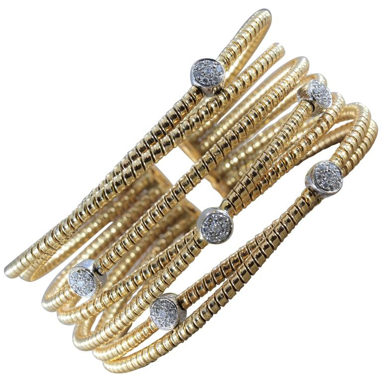 Italian Modern Diamond Gold Stretch Cross-Over Cuff Bracelet