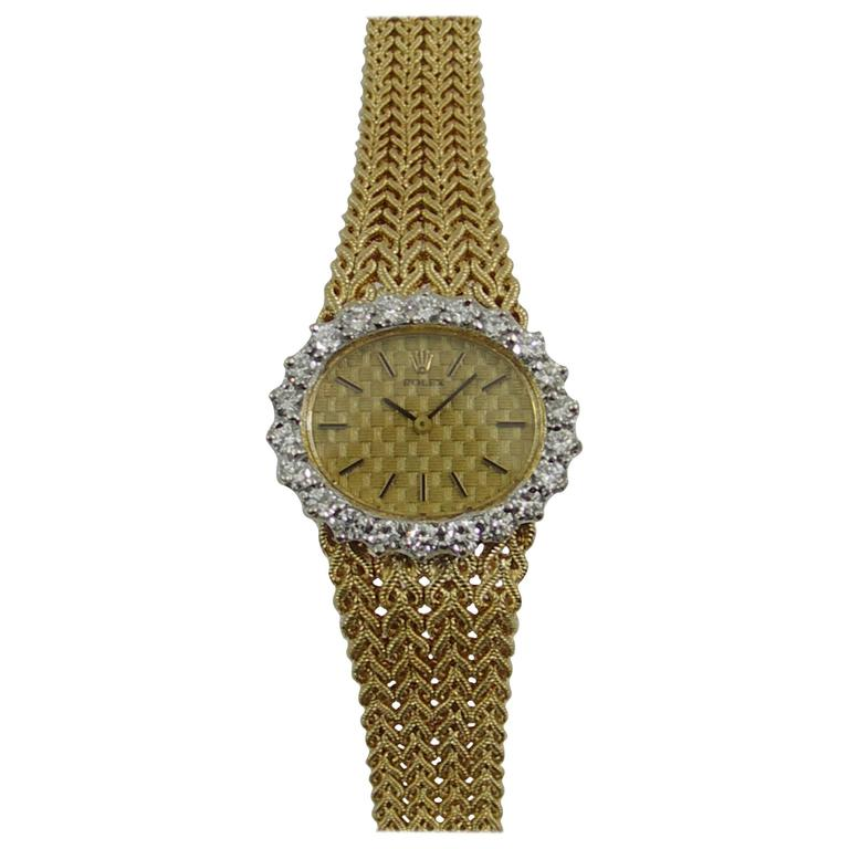 Rolex Ladies Yellow Gold Diamond Bezel Vintage Manual Wind Watch/ Wristwatch For Sale