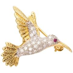 Hummingbird Ruby Diamond Gold Pin Brooch
