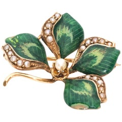 1890s Art Nouveau Four Leaf Clover Brooch, Gold, Enamel, Pearls