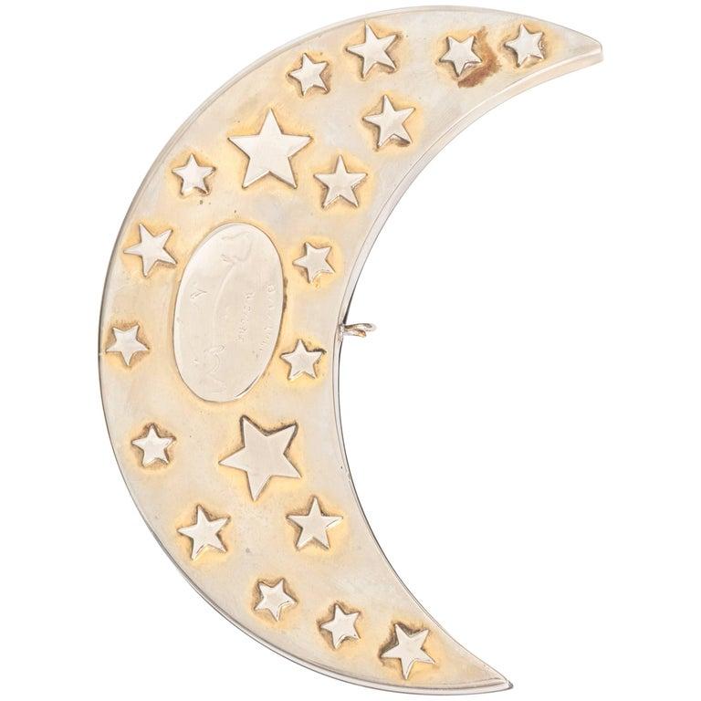 1970s Saudi Arabia Royal Crescent Moon Jewelry Box, .900 Sterling Silver