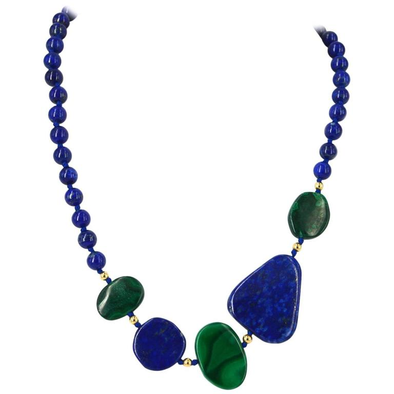 Lapis Lazuli Malachite Gold Necklace