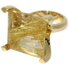 Lizunova Rutilated Quartz Yellow Gold Cocktail Ring
