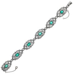 Antique Emerald Diamond Platinum Bracelet