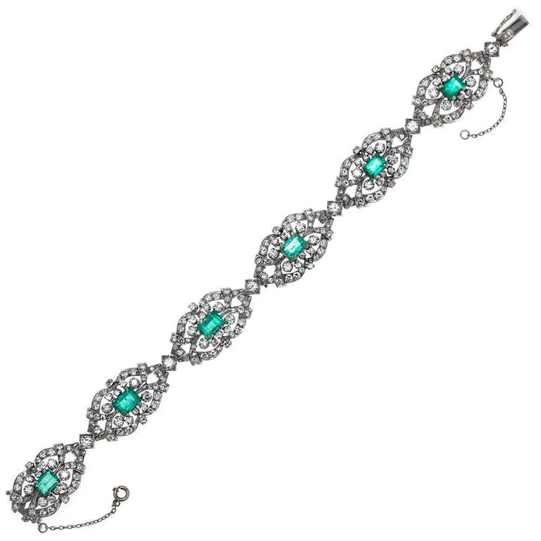 Antique Emerald Diamond Platinum Bracelet