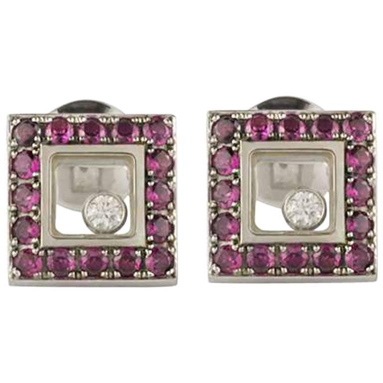 Chopard Happy Diamonds White Gold Ruby Earrings For Sale