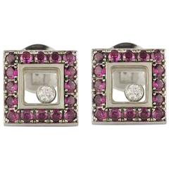 Chopard Happy Diamonds White Gold Ruby Earrings