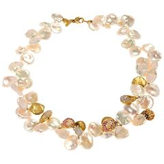 Stambolian Keshi Pearl Sapphire Diamond Gold Bracelet