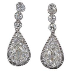 4.60 Carat Old Mine Diamond 1900 Rare Platinum Edwardian Drop Earrings