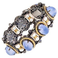 Stambolian Angel Blue Chalcedony Silver Gold Bracelet