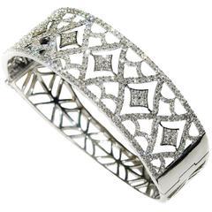 Diamond White Gold Cuff Bracelet