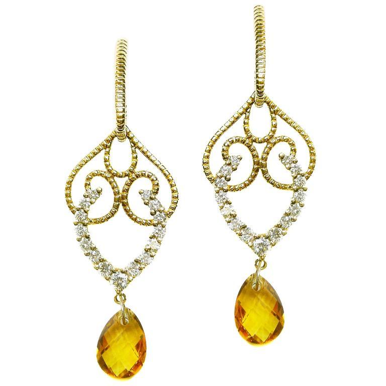 Citrine Diamond Gold Earrings