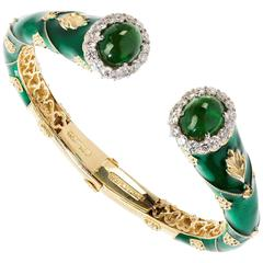 Stambolian Green Enamel Tsavorite Gold Bangle Bracelet