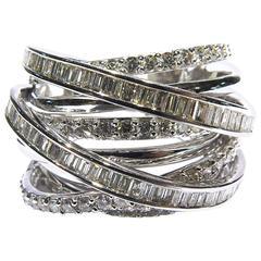 Dramatic Nine Bands Diamond White Gold Ring