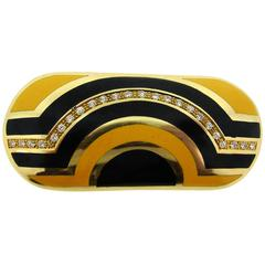 Cartier Diamond Enamel Yellow Gold Pin Brooch Pendant Clip, 1970s