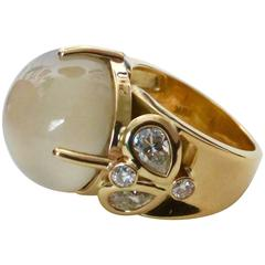 Michael Kneebone Moonstone Diamond Gold Cocktail Ring