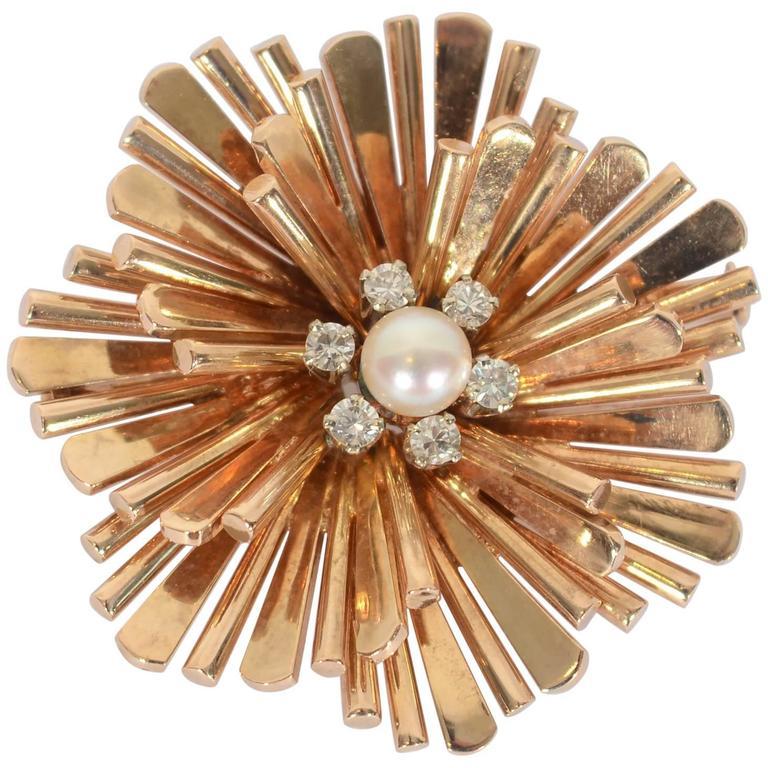 Retro Pearl Diamond Gold Fanned Spokes Brooch