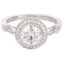 1.22 Carat Old European Cut Diamond Halo Platinum Engagement Ring