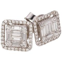 Baguette Cut Diamond Cluster Stud Earrings