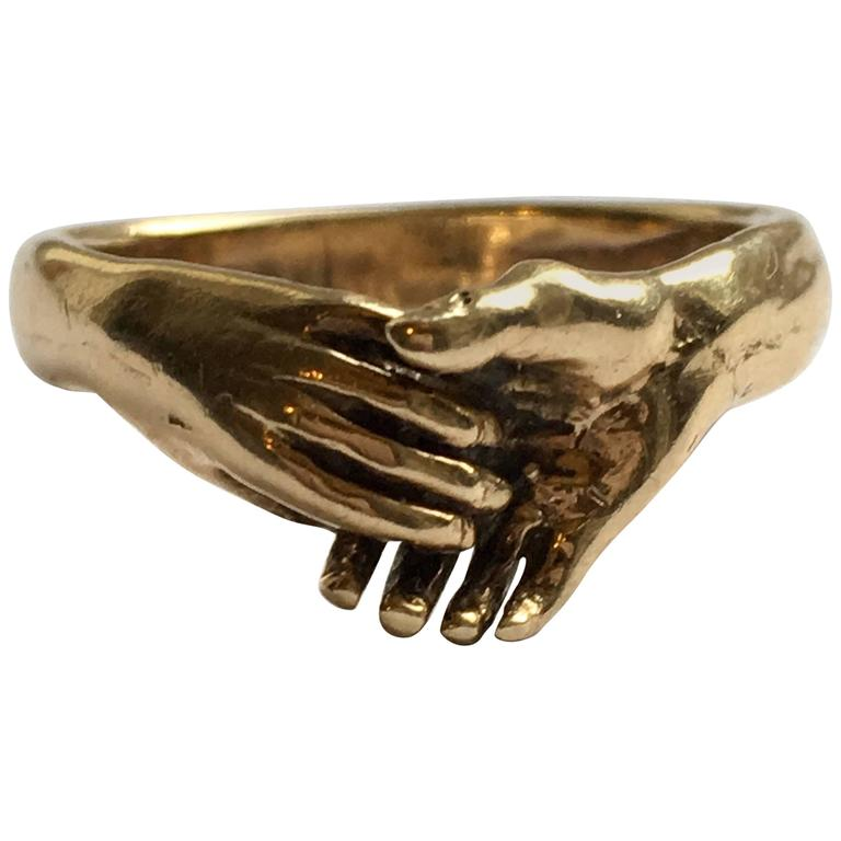 Gold Figural Clasped Hands Sculpture Lovers Friendship Studio Band ...