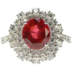 3.55 Carat AGL Certified No Heat Ruby Diamond Gold Ring