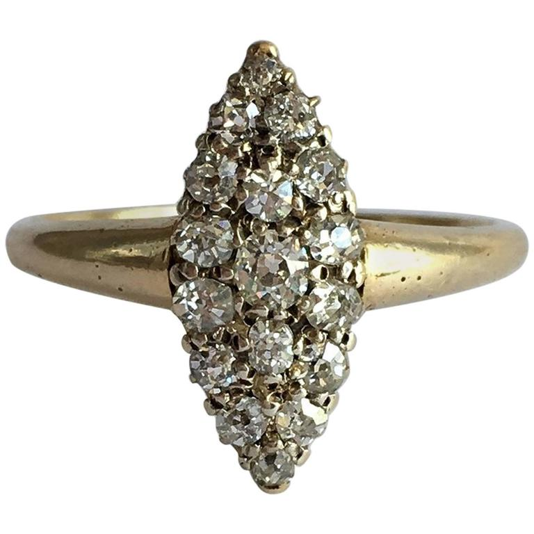 Old Cut Diamond Navette Ring Cluster Marquise Edwardian Vintage 18 Carat Gold