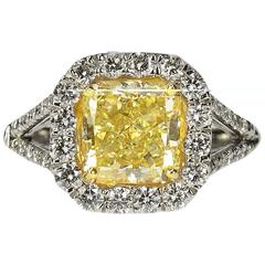 Canary Yellow Diamond Gold Platinum Ring
