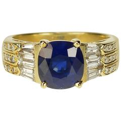 3.05 Carat AGL Certified Ceylon Sapphire Diamond Gold Ring