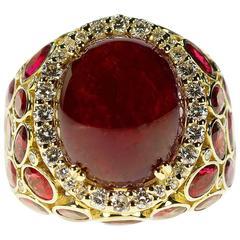21.43 Carat AGL Certified No Heat Burma Ruby Diamond Gold Ring