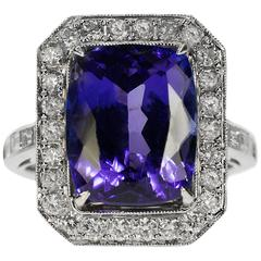 9.51 Carat Tanzanite Diamond Gold Ring