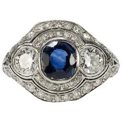 Art Deco AGL Certified Unheated Sapphire Diamond Platinum Ring