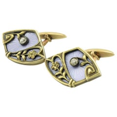 Pair of Russian Antique Gold, Guilloché Enamel and Diamond Cufflinks